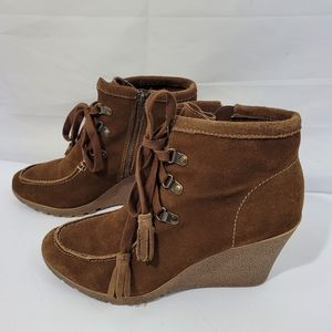 MIA Brisk Brown Suede Lace-Up Wedge Booties Sz 10